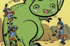 Roller Derby Girls Vs. a T. Rex